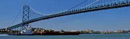 Ambassador Bridge between Windsor and Detroit